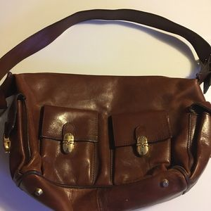 Valentina Brown leather Italy Shoulder Purse